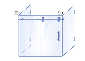 Double 90° Return Panel, Sliding Door & Inline Panel