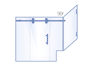 90° Return Panels with Buttress, Sliding Door & Inline Panel