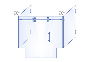 Double 90° Return Panels with Double Buttress, Sliding Door & Inline Panel