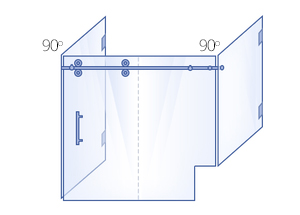 Double 90° Return Panels with Buttress, Sliding Door & Inline Panel