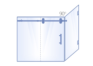 Sliding Door & Inline Panel, 90° Return Panel